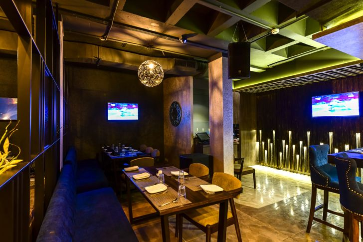 """coiffered ceiling bling restaurant kinteriors indiaartndesign"""