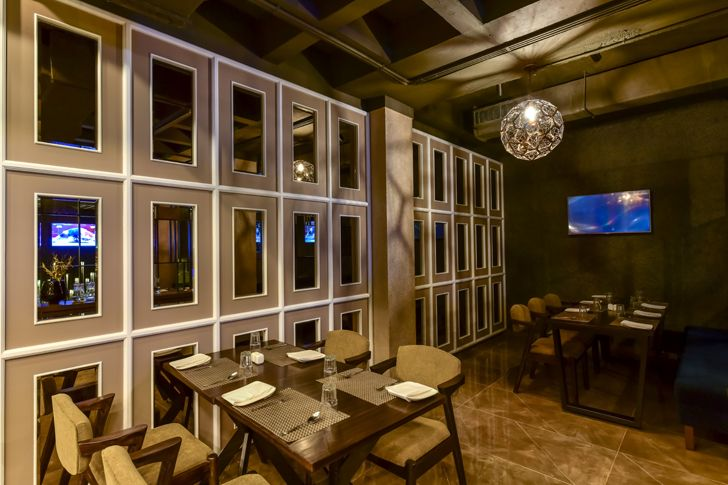 """tinted mirror framed bling restaurant kinteriors indiaartndesign"""