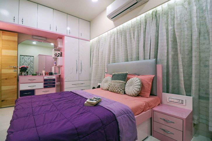 """pink and purple bedroom residence patil design studio indiaartndesign"""