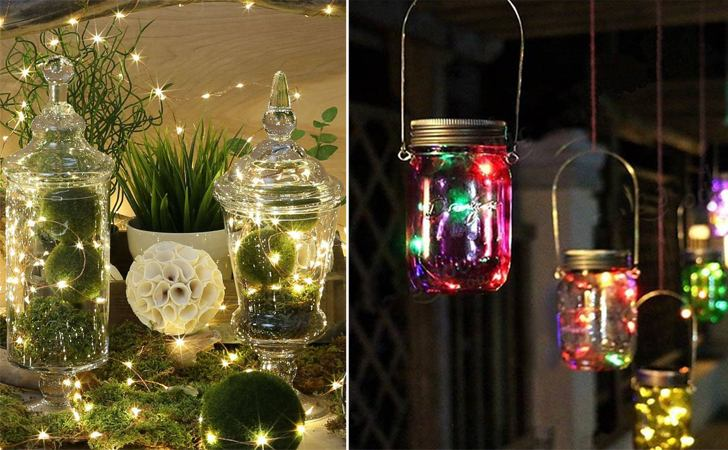 """string lights in a jar frugal decor diwali indiaartndesign"""