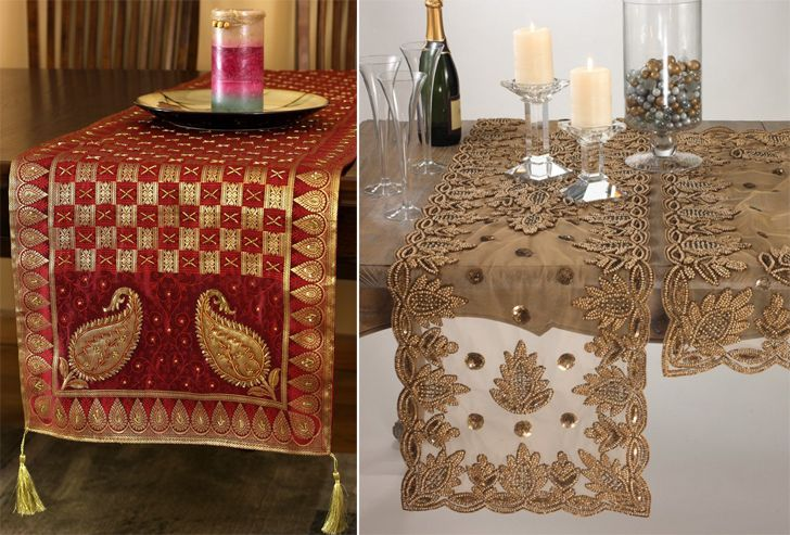 """old sarees as table runners home decor ideas indiaartndesign"""