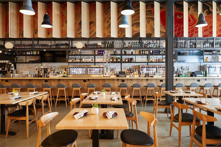 """restaurant interior Sake Dojo LA Wick-A+D LAND Design Studio indiaartndesign"""