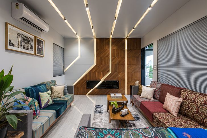 """linear lighting Aurangabad residence design alley indiaartndesign"""