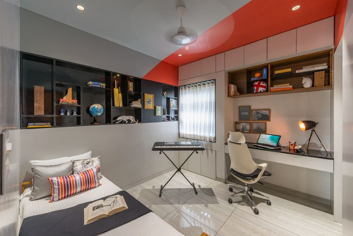 """red ceiling Aurangabad residence design alley indiaartndesign"""