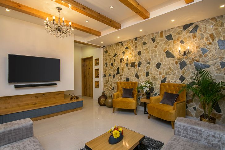"""feature wall residence interiors by ranjani IBR designs indiaartndesign"""