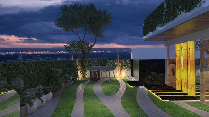 """floor lights terrace mahesh punjabi associates indiaartndesign"""