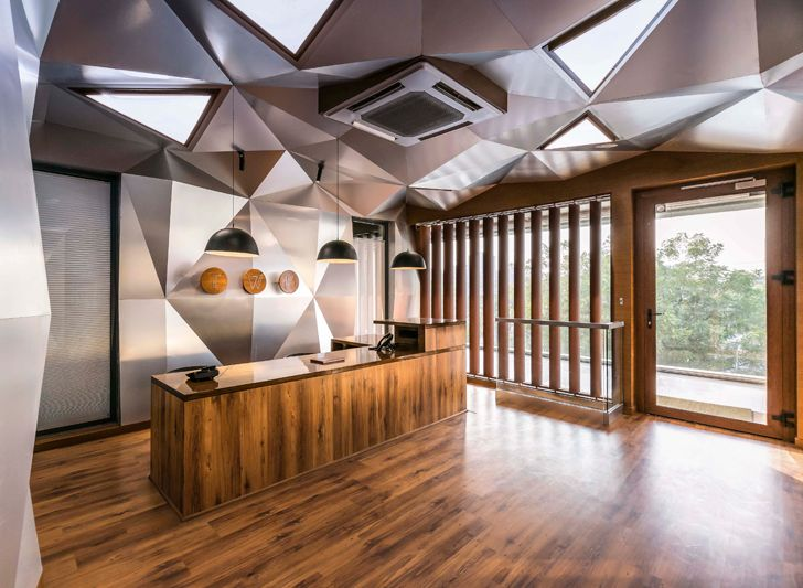 """faceted ceiling windows gallery Saransh architects indiaartndesign"""