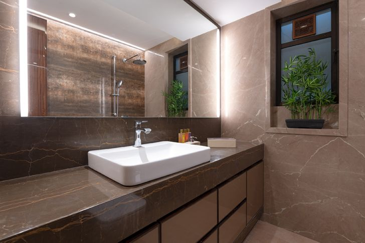 """plush bathroom contemporary home navi mumbai GA Design indiaartndesign"""