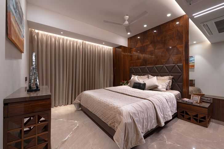 """plush bedroom contemporary home navi mumbai GA Design indiaartndesign"""