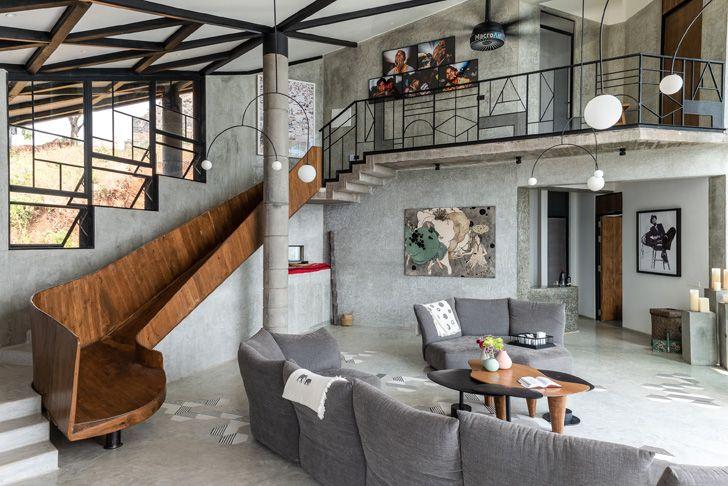 """living room with slide drift house architect shonan trehan LAB indiaartndesign"""