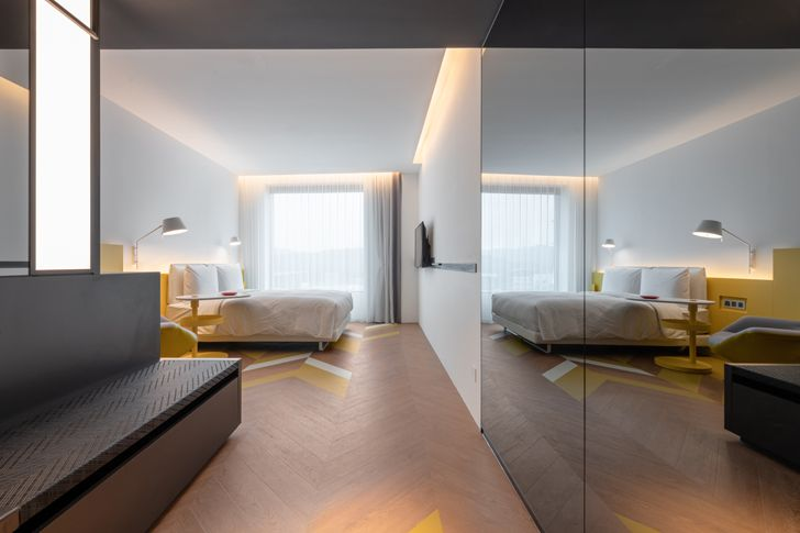 """bedroom suite mirrored view The Place Taipei Mecanoo Architects indiaartndesign"""