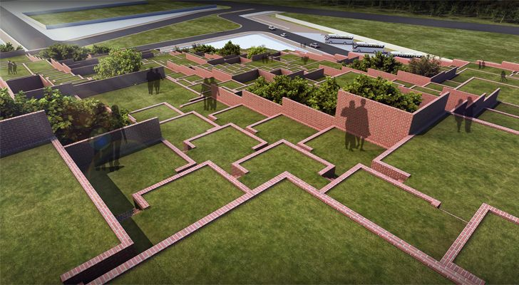 """""""aerial view of terraces Prestige University Indore Sanjay Puri Architects Indiaartndesign"""""""