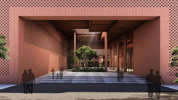 """east entrance Prestige University Indore Sanjay Puri Architects Indiaartndesign"""