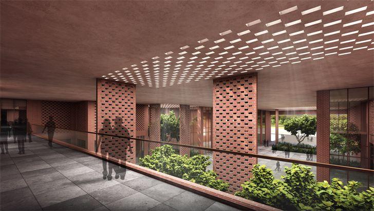 """view of atrium from bridge Prestige University Indore Sanjay Puri Architects Indiaartndesign"""