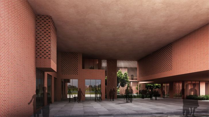 """""""view of atrium from rear entry Prestige University Indore Sanjay Puri Architects Indiaartndesign"""""""