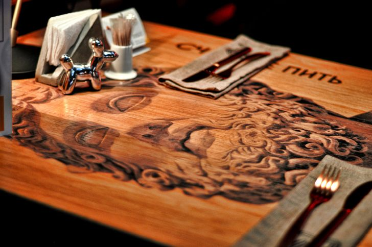 """art work on table top Robbie Italian cafe Samara ALLARTSDESIGN indiaartndesign"""