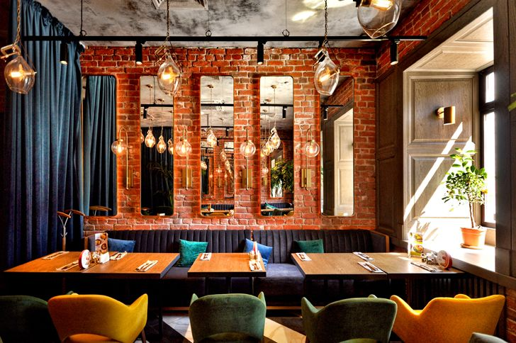 """exposed brick walls Robbie Italian cafe Samara ALLARTSDESIGN indiaartndesign"""
