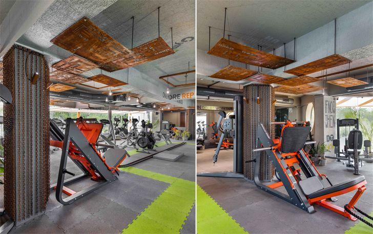 """lime green flooring trip gym Gandhinagar tHE gRID architects indiaartndesign"""