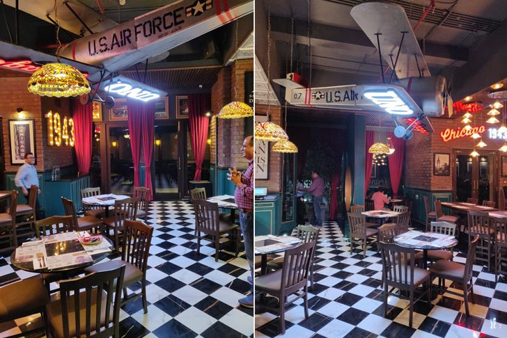 """aeroplane Uno pizzeria Kolkata chromed design studio indiaartndesign"""