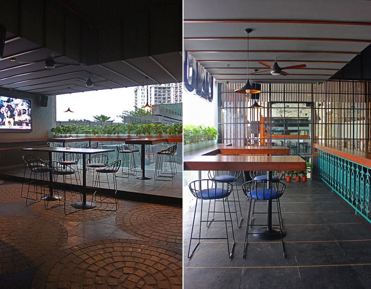 """alfresco seating Uno pizzeria Bengaluru chromed design studio indiaartndesign"""