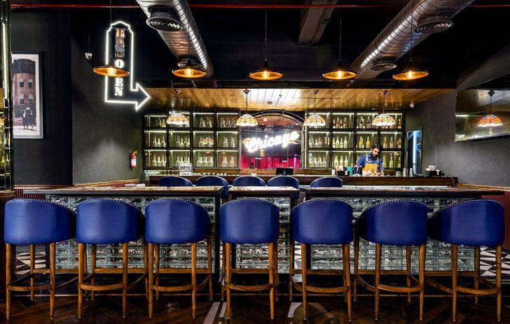"""bar Uno pizzeria Noida chromed design studio indiaartndesign"""