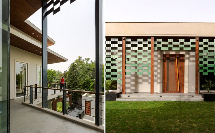 """porcelain tiles lattice noida bungalow anagram architects indiaartndesign"""