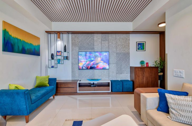 """panelling and tv wall ahmedabad home archana shah associates indiaartndesign"""
