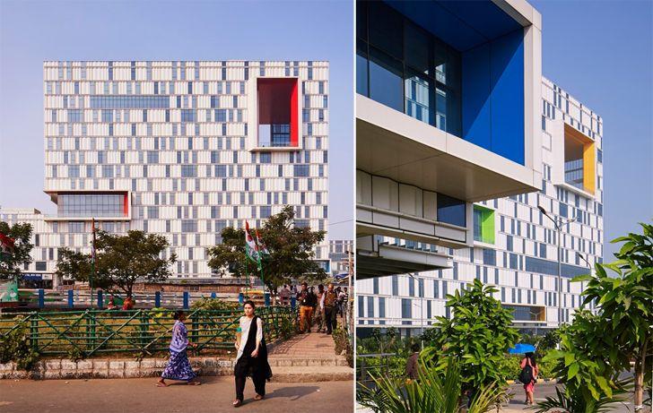 """metal panelling facade TCS campus Kolkata CanonDesign indiaartndesign"""