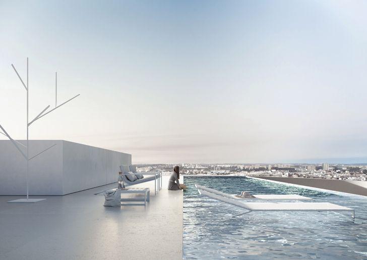 """poolside kouros tower fran silvestre arquitectos indiaartndesign"""
