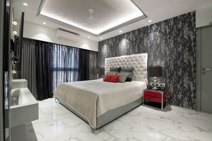 """monochrome master suite gold dust apartment GA Design indiaartndesign"""