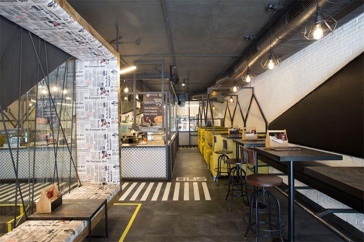 """newsprint upholstery boston bites restaurant studio ardete indiaartndesign"""