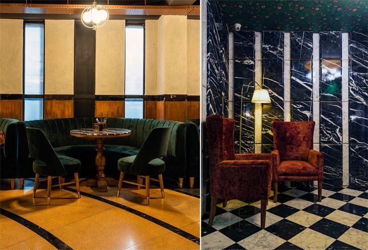 """different seating and flooring pikkle restaurant chromed design indiaartndesign"""