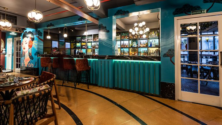 """kadappa and terrazo flooring pikkle restaurant chromed design indiaartndesign"""