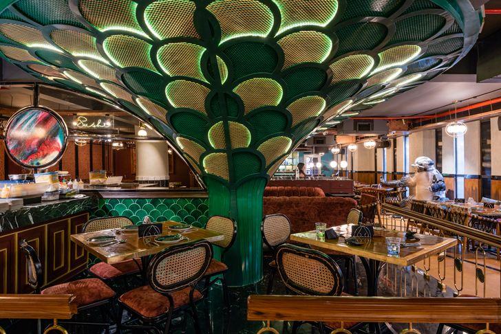 """""""tree like column pikkle restaurant chromed design indiaartndesign"""""""
