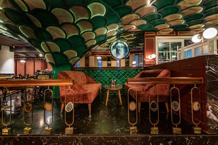 """""""wine coloured upholstery pikkle restaurant chromed design indiaartndesign"""""""