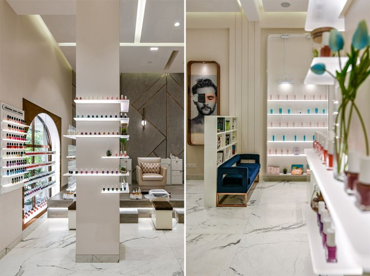 """display shelves the white door nail salon minnie bhatt designs indiaartndesign"""