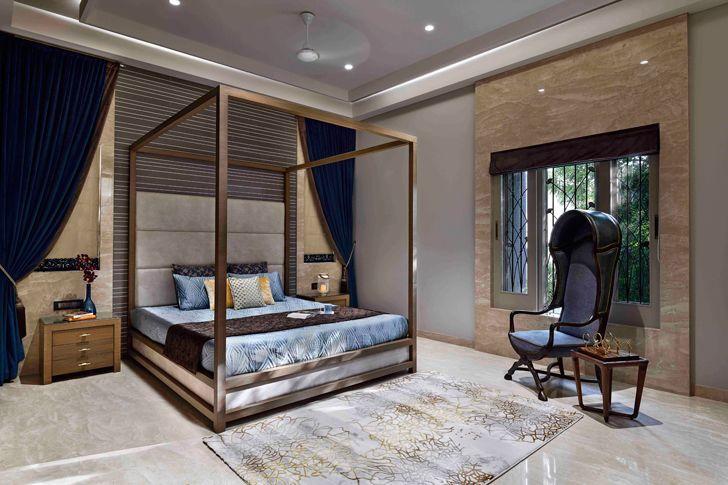 """elegantly styled bedroom chennai residence HS Desiigns indiaartndesign"""