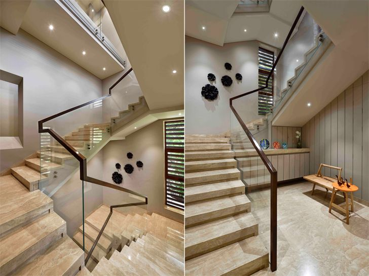 """""""marble and glass staircase chennai residence HS Desiigns indiaartndesign"""""""