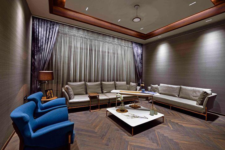 """plush living room chennai residence HS Desiigns indiaartndesign"""