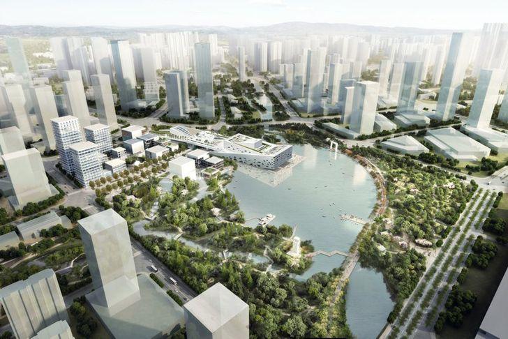 """""""birds eye view rendering hangzhou opera henning larsen indiaartndesign"""""""