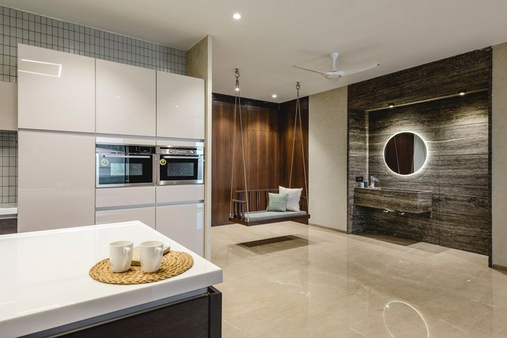 """spacious modern kitchen pool house neogenesis+studio0261 indiaartndesign"""