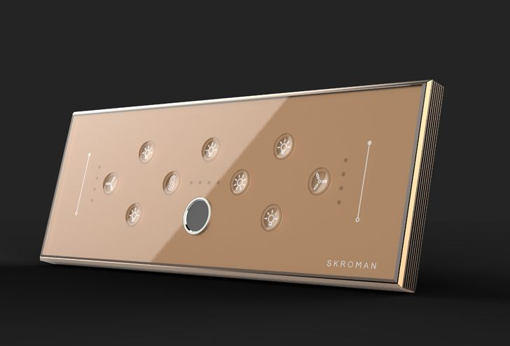 """rose gold biometric switch plate skroman global paul sandip indiaartndesign"""