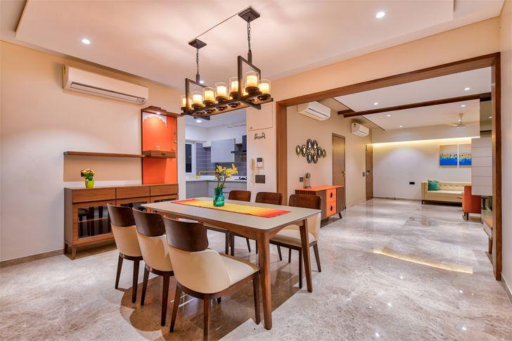"""dining with open kitchen Ahmedabad home shalin gandhi design studio indiaartndesign"""
