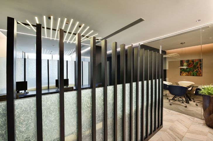 """glass and vertical louvres al tamoor office navi mumbai rajesh patel architects indiaartndesign"""