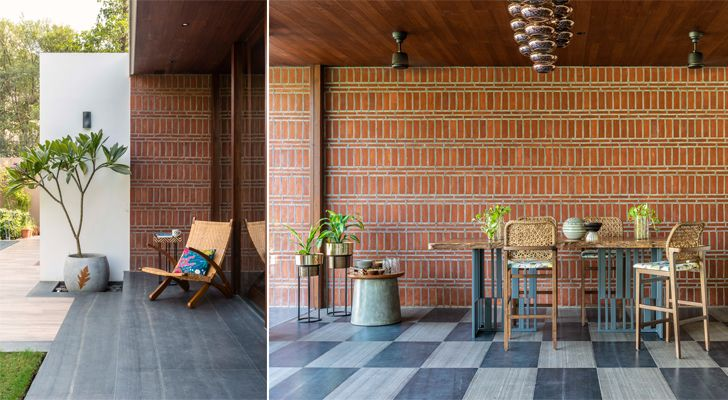 """brick wall and patio akashvan baroda res studio yamini indiaartndesign"""