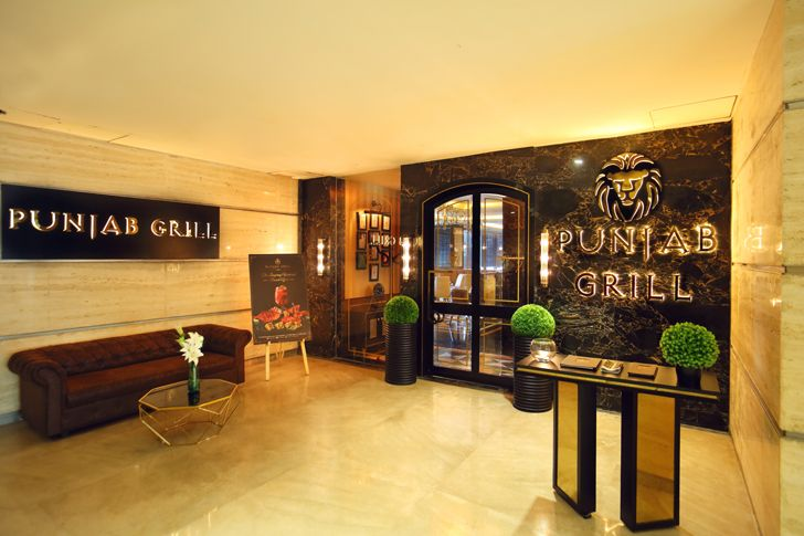 """entrance foyer the punjab grill BKC mumbai IVPartners indiaartndesign"""