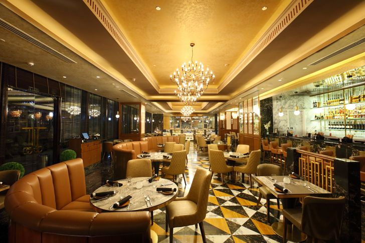 """phulkari patterned flooring the punjab grill BKC mumbai IVPartners indiaartndesign"""