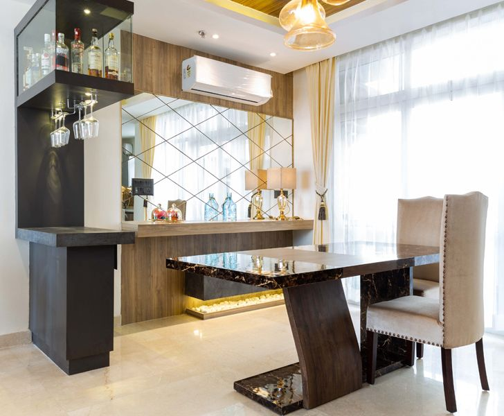 """dining with kitchen noida residence mixed folios indiaartndesign"""