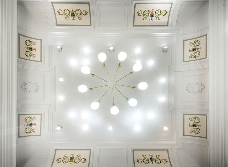 """hand painted ceiling good suit company RMDK architects indiaartndesign"""