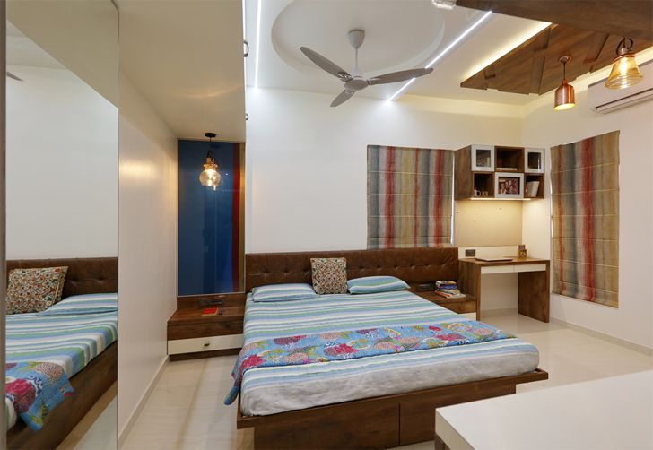 """bedroom1 mirror effect pune residence cluster one creative solutions indiaartndesign"""